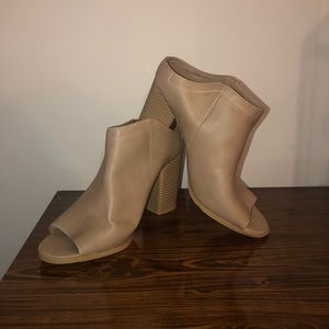 Tan DV Peep Toe Slip-On Booties. Size 11.